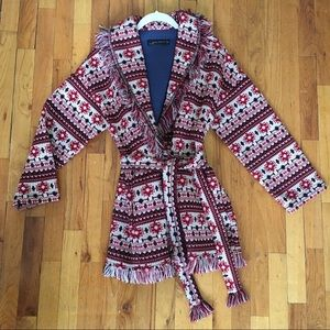 Zara aztec belted jacquard sweater jacket cardi